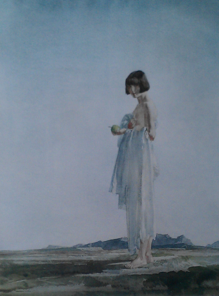 russell flint eve the girl with bobbed hair print