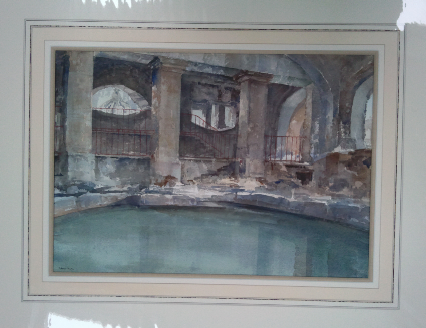 russell flint watercolour circular pool Bath mounted