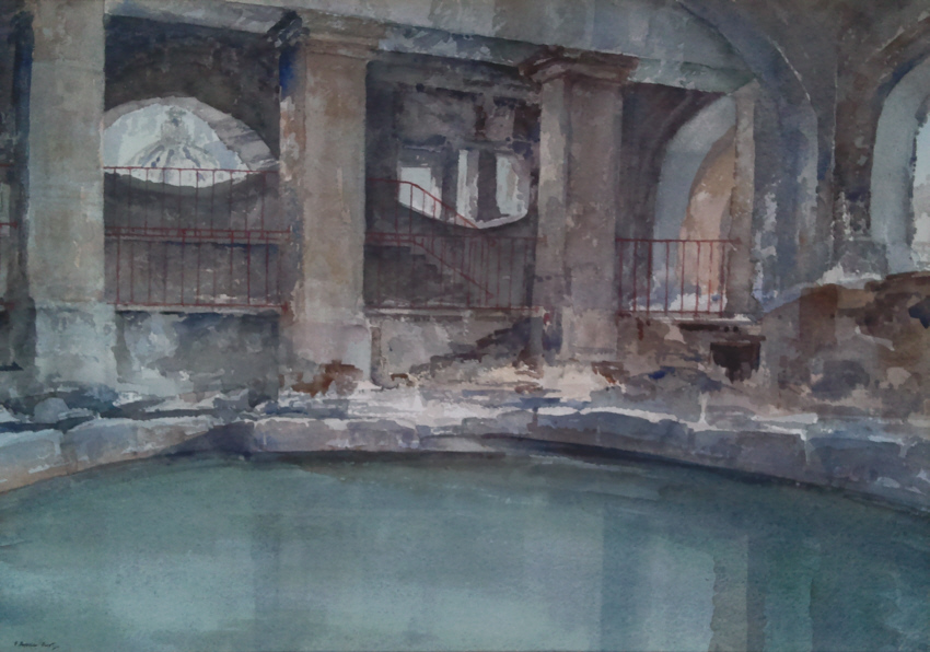 russell flint watercolour circular pool Bath
