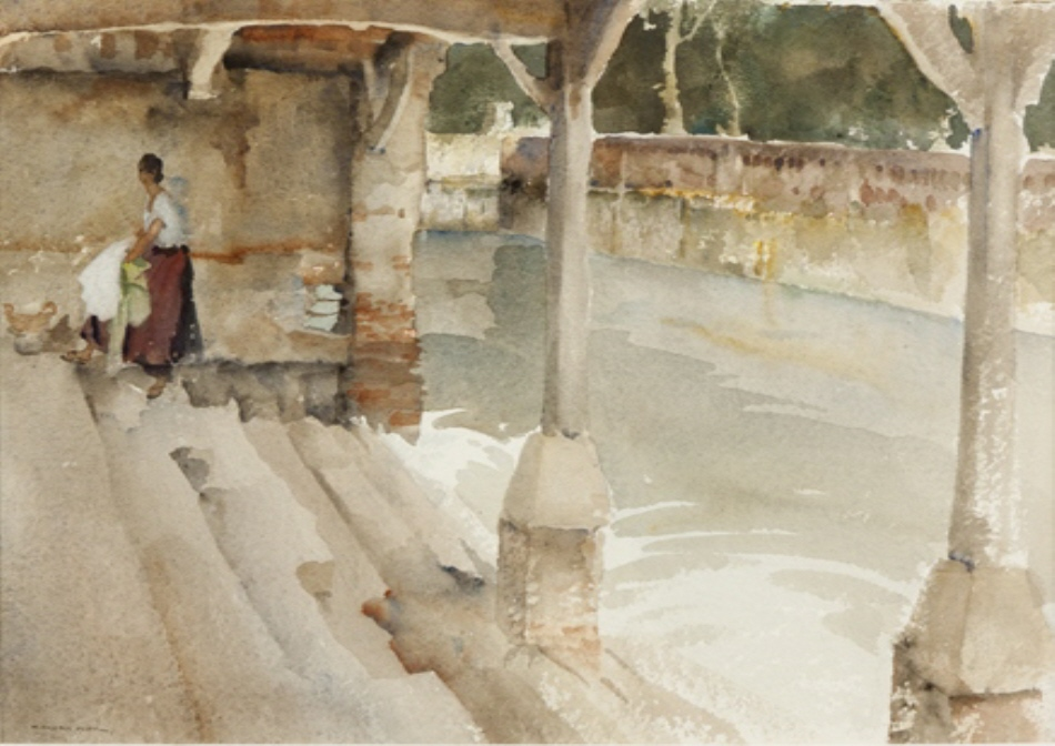 russell flint watercolour, lavoir cologne