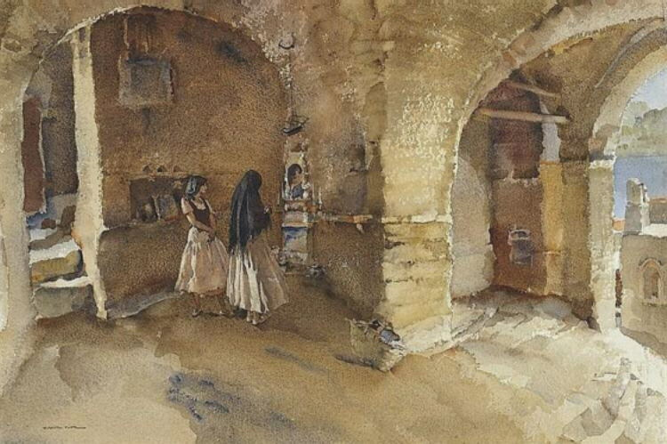 russell flint portovenere, Italy original watercolour