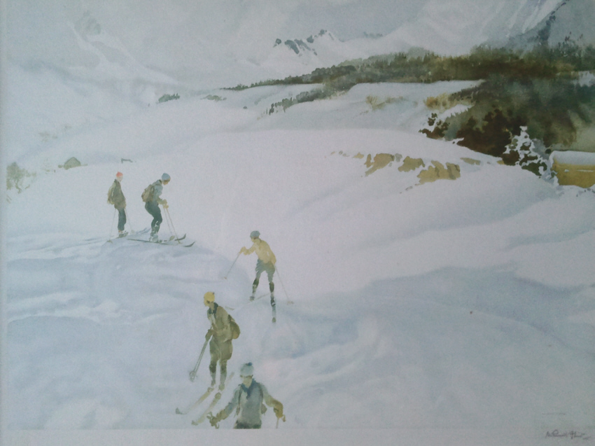 russell flint france  winter sport skiing print